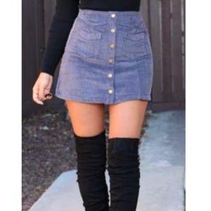 Dresses & Skirts - 🖤🆕COMINGSOON🖤Corduroy Blue Button Mini Skirt🖤